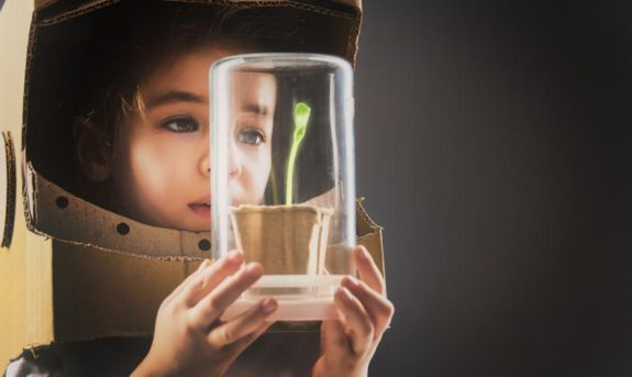 astronuat looking at seedling