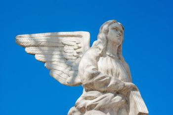 Angel statue Marble, Catholic Church, blue background