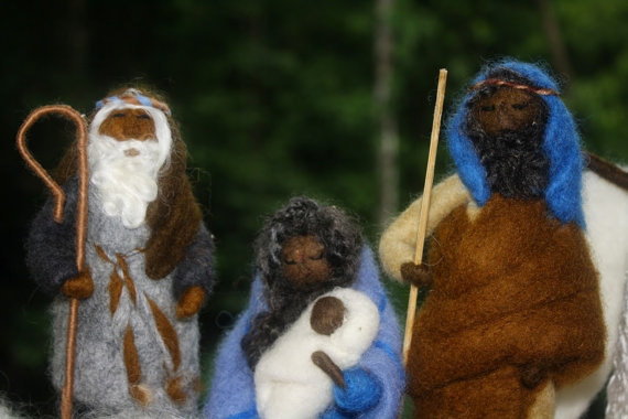 Needle Felted Nativity Set by The Magical Toadstool on Etsy