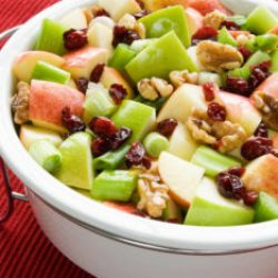 Healthy Waldorf Salad Served in a White Ceramic Bowl